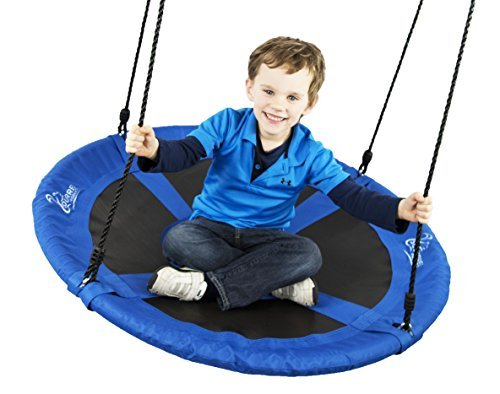 Flying Squirrel Giant Rope Swing - 40'' Saucer Tree Swing- Additions & Replacements for Active Outdoor Play Equipment - Blue by Squirrel Products