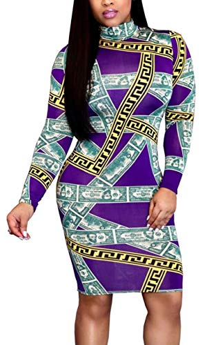 (Women Bodycon Bussiness Dress Elegant Turtleneck Long Sleeve Stretchable Pencil Suiting Dollor Stripes Print Zipper Hidden Back Purple)