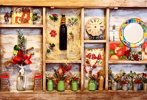 SZZWY Shabby Wooden Shelf Filled with Wine Bottle Clock Dial Plates Flowers 10x8ft Vinyl Photography Background Cafe Bar Eatery Indoor Decors Backdrop Italy Turkey Tourist Town Holiday Maker Shoot