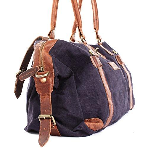 LECONI Shopper aus Canvas + Leder im Vintage-Look kleiner Weekender Handgepäck Reisetasche Sporttasche Fitnesstasche Unisex für Damen + Herren 45x30x20cm LE2008-C navy / braun