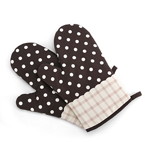 Saumota One Pair Lovely Thicken Cotton Fabric Kitchen Oven Gloves Heat Resistant Oven Mitts For Cooking-Polka Dot/Brown