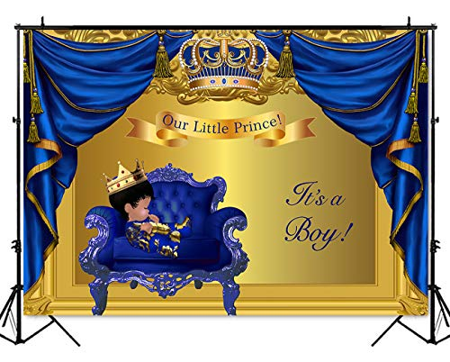 Shower Backdrop Little Prince Baby Boy Photography Background 7x5ft Vinyl Blue Gold Curtain Baby Shower Party Banner Decoration ()