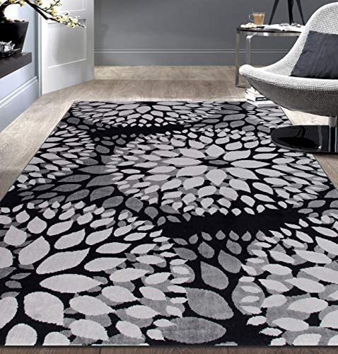 Modern Floral Circles Design Area Rug 3'1″ x 5' Black
