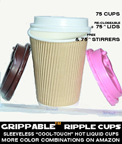 Grippable? Ripple Paper Cup INSULATED Hot/Cold 12OZ CUPS 3 LID COLORS & STIRRERS 75PK Disposable - LOCTITE CLOSEABLE TAB LIDS - Grip EASY - N0 Leaks N0 Sleeves - ECO-SMART - HOME OFFICE PARTIES