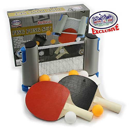 Matty's Toy Stop Deluxe Table Tennis (Ping Pong) To Go with Fully Adjustable Net, 2 Paddles, 6 Balls (3 Orange & 3 White) & Mesh Storage Bag by Matty's Toy Stop