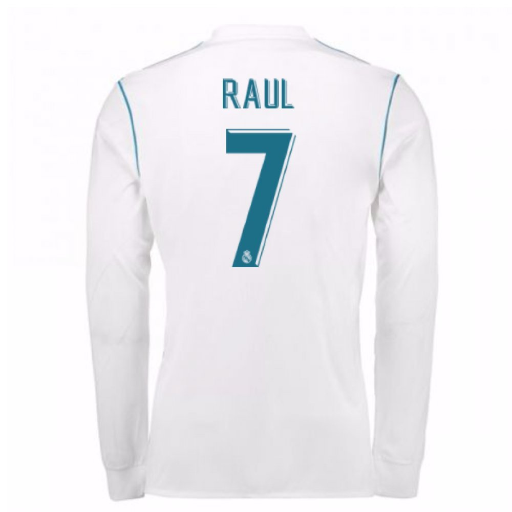 2017-18 Real Madrid Long Sleeve Home Football Soccer T-Shirt Trikot - Kids (Raul 7)
