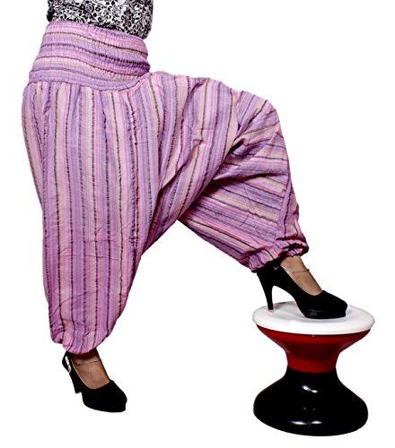 Algodón a Rayas Genie harén pantalones Beggy Gypsy pantalones Yoga tamaño libre Rosa