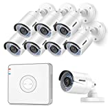 ANNKE 8-Channel 1080P HD sPOE NVR Surveillance Video System and (8) 1.3MP 960P Security IP Cameras, Remote Access Motion Detection, NO HDD