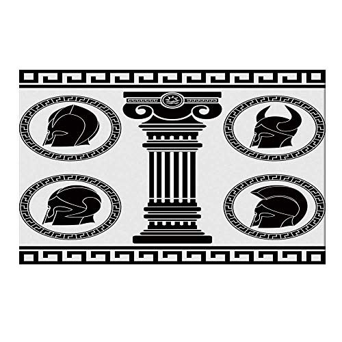 YOLIYANA Toga Party Durable Door Mat,Patterned Circular Frames with Antique Helmets Spartan Military Costume for Home Office,19.6