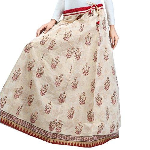 Handicrfats Export Women Admyrin Indian Chanderi Beige Skirt 61wZ1dq