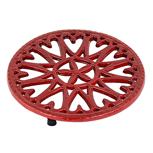 "Minuteman International Sunburst, Red woodstove Tabletop cast Iron Trivet, 7"" Diameter,"