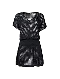 Holiday Sunscreen Loose White Black Knit Openwork Sexy Swimsuit Bikini Blouse Gown Coat Beach Skirt (Color : Black)