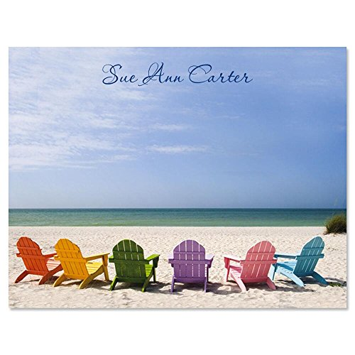 Tropical View Personalized Note Cards (Set of 12 Cards with White Envelopes)