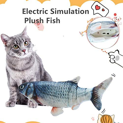 Fish Catnip Cat Toys Set Simulation Fish Shape Doll Interactive Pets Pillow Chew Toys Chew Bite Kick Supplies Realistic Looking Cat Kicker Fish Toy Yoruii for Cat Fish Flop Toy Catnip Crinkle Toys 2