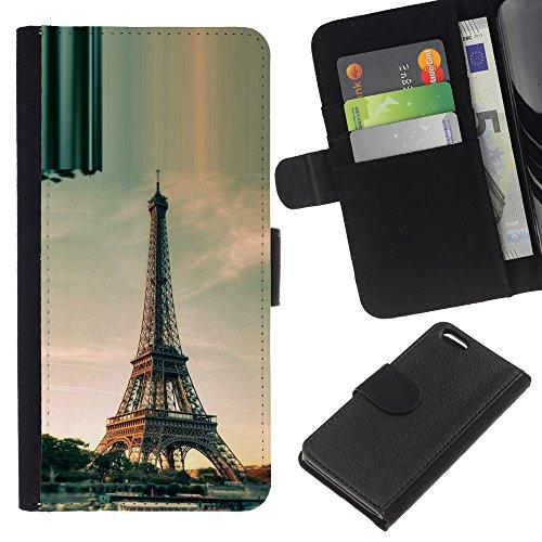 Lead-Star (Architecture Paris Eiffel Tower Day) Colorful Impression Holster Cuir Wallet Cover Housse Peau Cas Case Coque Pour Apple iPhone 5C