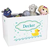 Personalized Ducky Childrens Nursery White Open Toy Box