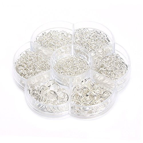 1Box (1450pcs) Round Elite Split Rings 3-10mm Open Jump Rings Wire Connector for Jewelry Making Findings Charms (Silver) (Open 5mm Ring)