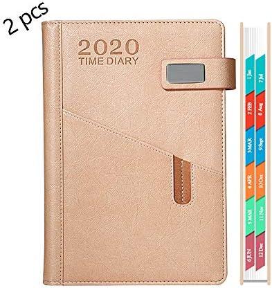 BNSDMM Planer Zeitplan Buch Kalender-Plan Buch Selbstdisziplin Notebook kreative Notizblock Geschäftsmetallschnalle mit Karten-Slot Pen Slot 2 Stück (Color : Pink)