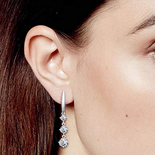 Other Fashion Jewelry Clear Elegant In Style Constructive Sterling Silver Unisex Studs Earrings 2 Carat Swarovski Crystal
