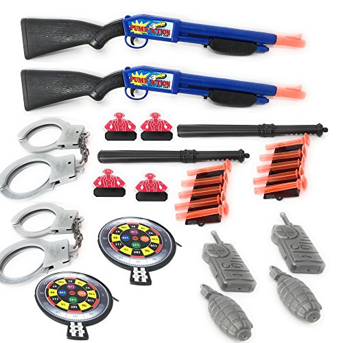 Special Police Response Force Team 28 Pieces Children Kid 's Pretend Play Dart Shooting Toy Gun Playset With Shotgun Pistol Suction Darts Accessories ()