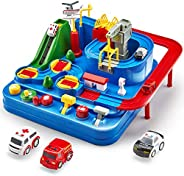 CubicFun Race Tracks for Boys Car Adventure Toys for 3 4 5 6 7 8 Year Old Boys Girls, City Rescue Preschool Ed