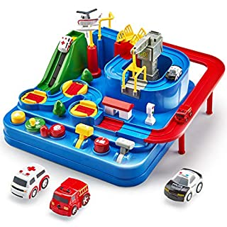 CubicFun Race Tracks for Boys Car Adventure Toys for 3 4 5 6 7 8 Year Old Boys Girls, City Rescue Preschool Educational Toy Vehicle Puzzle Car Track Playsets for Toddlers, Kids Toys Gifts for Kids