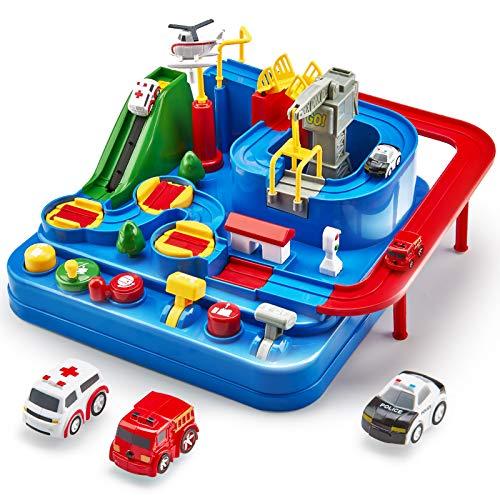 CubicFun Pista de Coches para Niños 3 4 5 6 7 8 años, City Rescue Pista Cars Juguetes de Aventura Playsets, Pista Coches…
