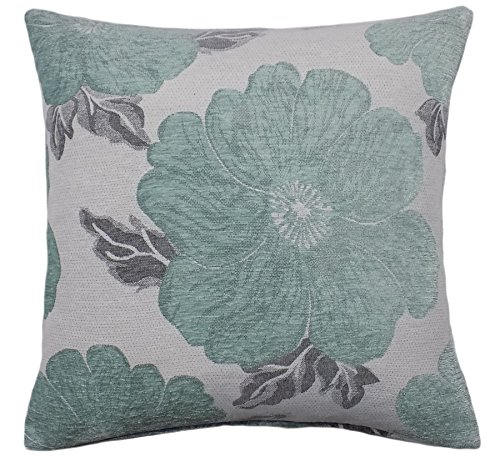 POPPY DUCK EGG BLUE WHITE SILVER CHENILLE THICK PILLOW CUSHION COVER 22