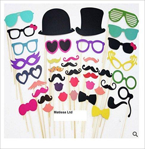 Matissa 36 pcs Accessoires Photobooth Bricolage Moustache Lunettes Chapeau L/èvre avec B/âton pour Fete Vacances de f/ête de no/ël f/ête danniversaire