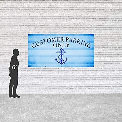 Customer Parking Only 8x4 CGSignLab Nautical Stripes Heavy-Duty Outdoor Vinyl Banner