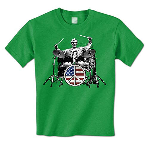 Abraham Lincoln - American Drummer Peace Sign Drum Set Rock Mens T-Shirt XXL Kelly
