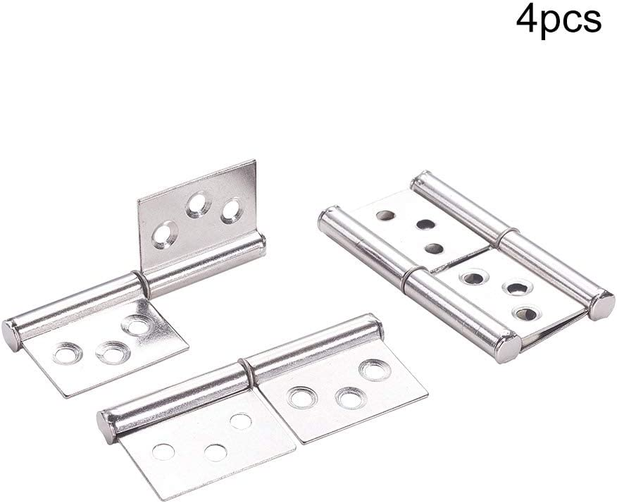 MroMax 4pcs Rectangular Leaf 2.9 Door Gates Metal Flag Hinges Sliver Tone