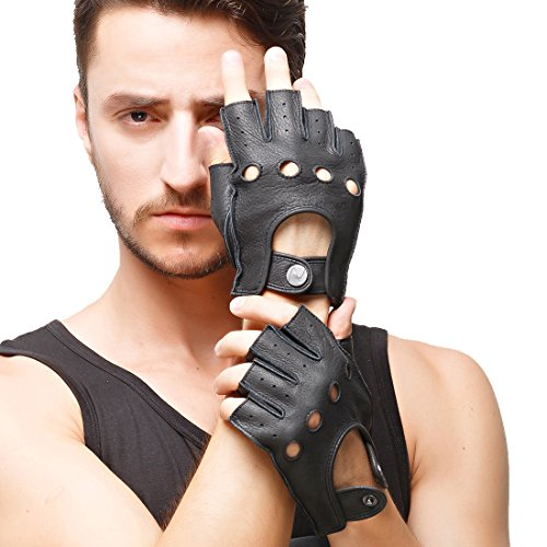 Nappaglo Men's Deerskin Fingerless Gloves Half Finger Leather Driving Motorcycle Cycling Riding Unlined Gloves (M (Palm Girth:8