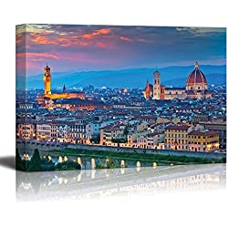 "Wall26 - Canvas Prints Wall Art - Florence. Image of Florence, Italy During Beautiful Sunset. | Modern Wall Decor/ Home Decoration Stretched Gallery Canvas Wrap Giclee Print. Ready to Hang - 24"" x 36"""