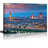 Wall26 - Canvas Prints Wall Art - Florence. Image of Florence, Italy During Beautiful Sunset. | Modern Wall Decor/ Home Decoration Stretched Gallery Canvas Wrap Giclee Print. Ready to Hang - 32
