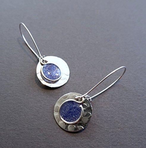 - womens lightweight handmade silver tone small cobalt disc earrings Beads by Bettina