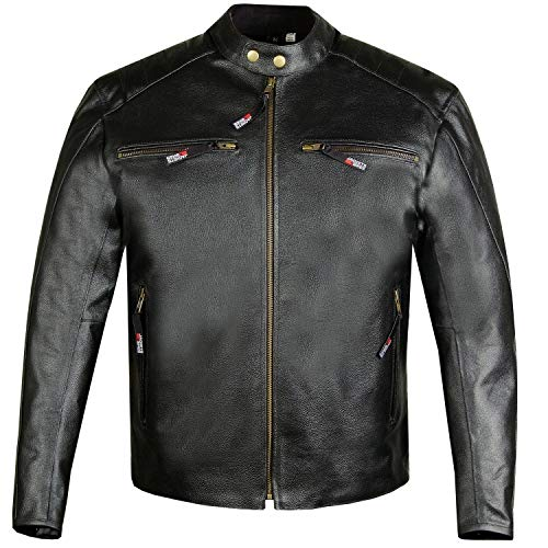 (Men's Defender Genuine Leather Classic Motorcycle Street Biker Jacket M)