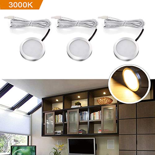 B-right LED Puck Light, Under Cabinet LED Lighting, 510lm Hardwired Puck Lights, 3000K Warm White, All Accessories Included, Kitchen, Closet, Under Counter Lights, Set of 3