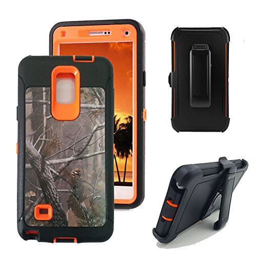 Galaxy Note 4 Case, Harsel Defender Series Heavy Duty Camo Tough Rugged Impact Armor Hybrid Military with Belt Clip Built-in Screen Protector Case Cover for Galaxy Note 4 (Tree / Orange)