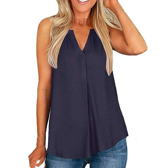 LRWEY Camisetas para Mujer, Camiseta sin Mangas con Cuello en V de ...