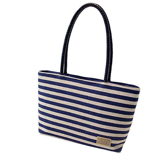 (Blue Women Ladies Canvas Shoulder Tote Handbag Travel Handbags For Shopper Daily Purse Tote Bag Shopper Bag Vacation Bag Travel Beach Bag Cloth Bags Women Striped Canvas Tote Bag Vacation Beach Bag)