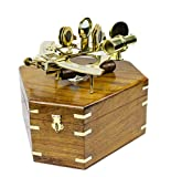 Nagina International Antique Nautical Premium Brass Polished 8'' Sextant with Decorative Hand Crafted Wooden Box | Brass Inlaid Decor | Vintage Reprouction