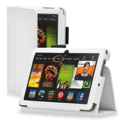 TNP Kindle Fire HDX 8.9 Case (White) - Slim Fit Synthetic Leather Folio Cover Stand with Stylus Holder for Amazon Kindle Fire HDX 8.9