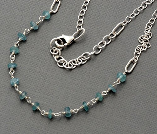 Sky blue tiny raw chip apatite anklet sterling silver dainty chain ankle bracelet gemstone barefoot jewelry