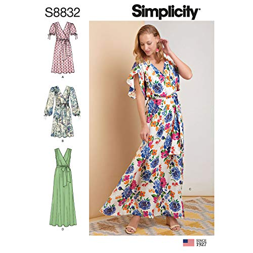 Simplicity US8832R5 Pattern S8832 Misses' Pullover Dress with Tie Belt, R5 ()