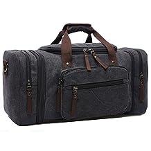 Aidonger Duffle Bag Travel Bag Canvas Weekender Bag with Strap (Standard, Black)