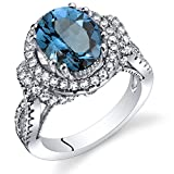 London Blue Topaz Gallery Ring Sterling Silver Oval Shape 3.25 Carats Size 7