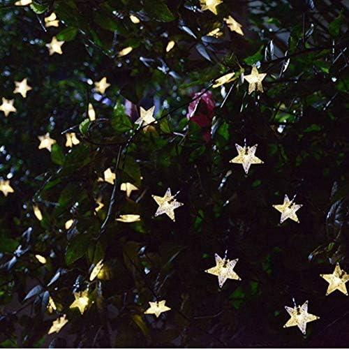 YUXIAN Solar Star Light String Solar Light String Weihnachtsdekoration Fünf Spitze Lichter String wasserdichte Gartendekoration im Freien 7M