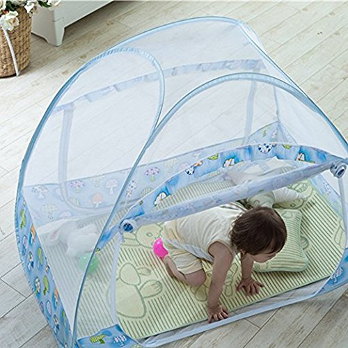 AUMEY Zippered Baby Mosquito Net Foldable Baby Bed Kids Tent Nursery Crib Canopy Netting Folding Cot Mosquito Net (592935inch) by AUMEY (Image #6)