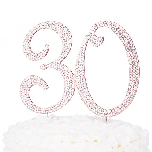 30-Cake-Topper-30th-Birthday-or-Anniversary-Party-Rose-Gold-Rhinestone-Metal-Number-Decoration-Rose-Gold